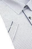 Duża Koszula Męska Modely biała we wzorki na krótki rękaw Duże rozmiary K820 6XL 50 182/188 zdjęcie 3