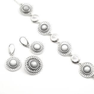Komplet srebrny kwiaty z kocim oczkiem