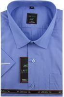 Duża Koszula Męska Laviino gładka niebieska duże rozmiary na krótki rękaw K705 6XL 50 182/188