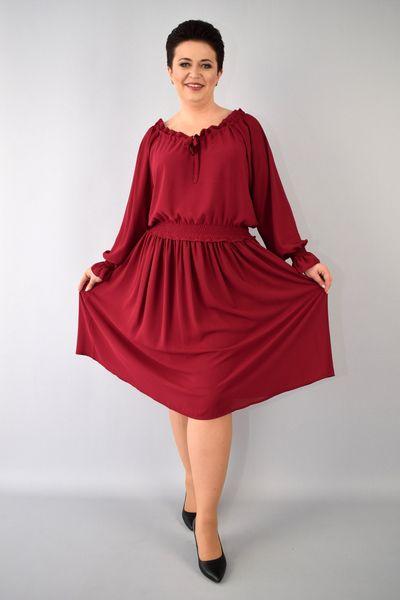 f8e09424ff Sukienka AGATA szyfonowa gumka w pasie rękawy bufki bordowa 54 zdjęcie 5