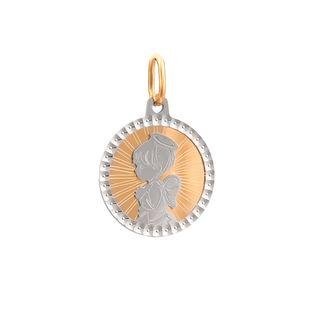 Złoty Okrągły Medalik Aniołek Nowość!
