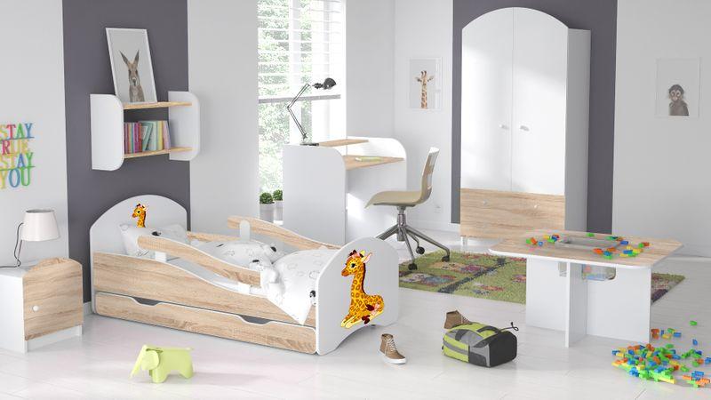 Łóżeczko dziecięce 140x70 białe-sonoma szuflada materac meble zdjęcie 13