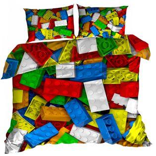 Pościel 3D bawełna satyna 160x200cm KLOCKI LEGO