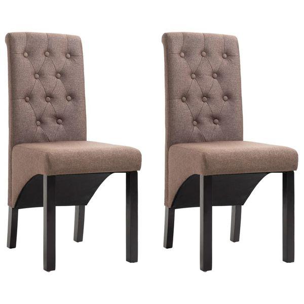 Krzesła Stołowe, 2 Szt., Brązowe, Tapicerowane Tkaniną zdjęcie 1