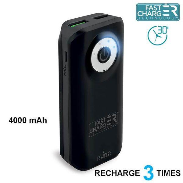 PURO Universal External Fast Charger Battery - Power Bank 4000 mAh, 2 x USB, 2.4 A (czarny) zdjęcie 1