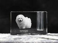 Samojed - kryształowy stojak na długopis z wizerunkiem psa, pamiątka, dekoracja, kolekcja.