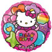 Balon foliowy okrągły HELLO KITTY Rainbow kotek