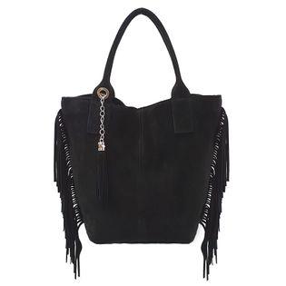 TOREBKA zamszowa damska shopper worek z frędzlami i saszetką V460 czarna