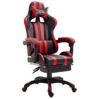 Fotel z podnóżkiem czerwony sztuczna skóra VidaXL