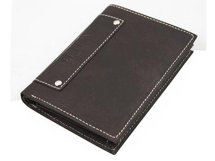 Pionowy portfel męski Always Wild ze skóry nubukowej - ciemny brąz