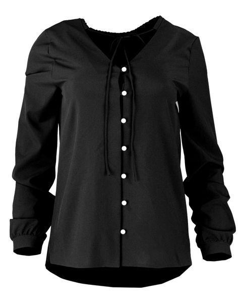 18f960af5 Bluzka koszulowa z wiązaniem i perełkami- polski producent- czarna Rozmiar  - 40 zdjęcie 1