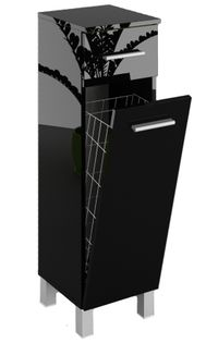 Szafka łazienkowa słupek czarny połysk szerokość 40 cm 602403