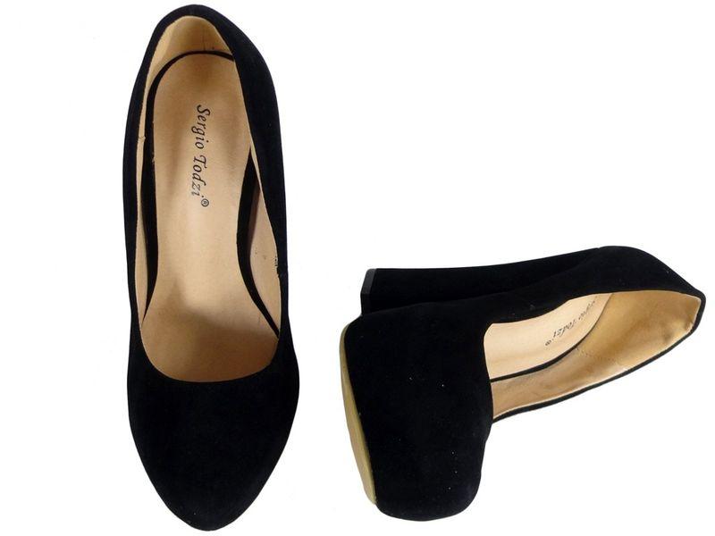 Czarne szpilki na słupku buty zamszowe 37 zdjęcie 2