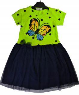 Sukienka Motyl zielona, bawełna roz.128