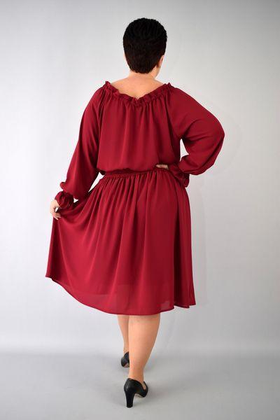 458b5ba757 Sukienka AGATA szyfonowa gumka w pasie rękawy bufki bordowa 54 zdjęcie 3