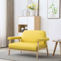 Sofa 2-osobowa tapicerowana tkaniną żółta VidaXL