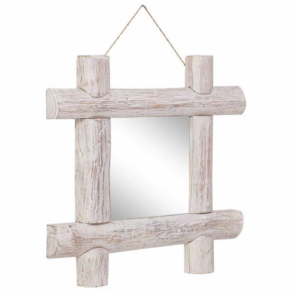 Lustro W Ramie Z Belek, Białe, 50X50 Cm, Lite Drewno Z Odzysku zdjęcie 8