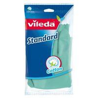 Rękawice sanitarne domowe lateksowe Vileda Standard rozm. S bawełniana wyściółka
