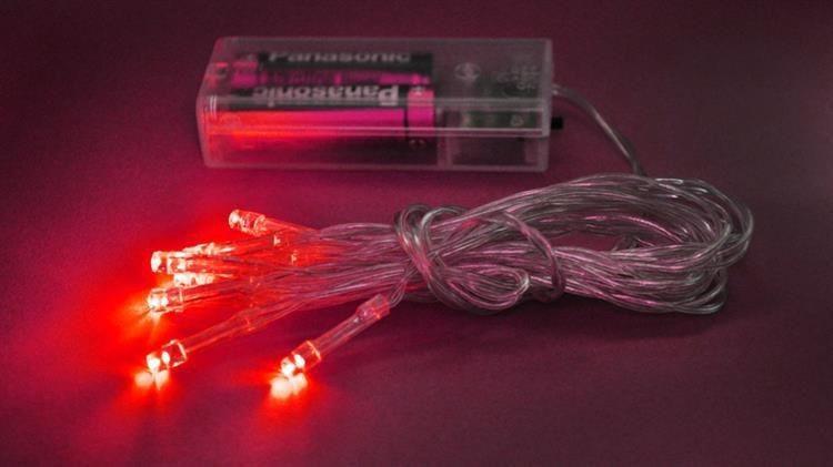 Lampki 10 LED na baterie - czerwony zdjęcie 16