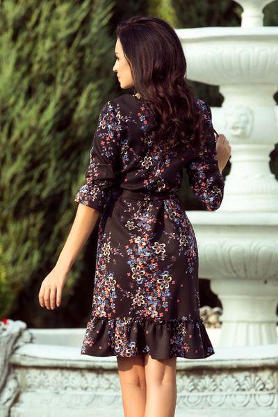 4266e67166 193 5 MAYA Sukienka z falbankami i paskiem CZARNY + KOLOROWE KWIATY Rozmiar  - XL zdjęcie