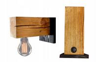 Kinkiet drewniany lampa loft scienna z włącznikiem