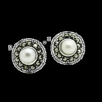 ASTRID Srebrne kolczyki z perła i markazytami okrągłe małe sztyft