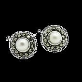 ASTRID Srebrne kolczyki z perła i markazytami okrągłe małe sztyft zdjęcie 1