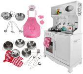 Kuchnia Drewniana Dla Dzieci Kuchenka Metalowe Garnki Światła Akcesoria Z371K zdjęcie 4