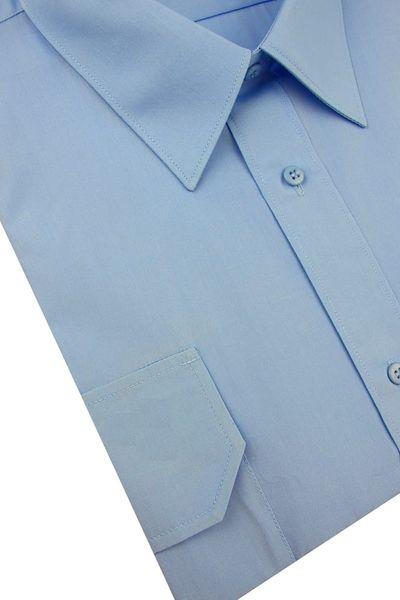 Koszula Męska Konsul gładka niebieska z pagonami w kroju REGULAR na krótki rękaw K957 XXL 44 176/182 zdjęcie 3