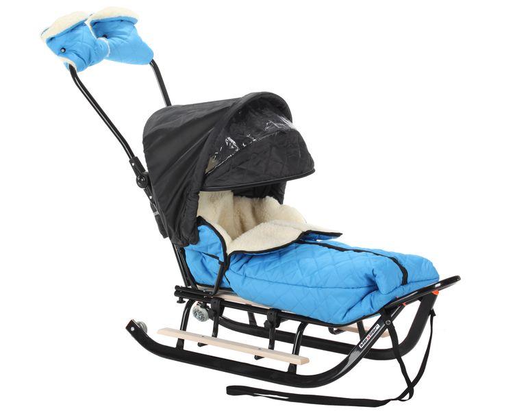 SANKI dla dzieci z budką, śpiworem i mufki, pchacz, podnóżki + kółka zdjęcie 9