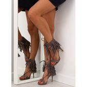 Sandałki na obcasie z frędzlami 8125 Grey r.36 zdjęcie 4