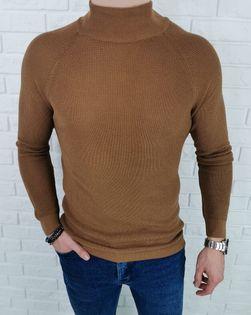 Karmelowy pleciony sweter półgolf męski 3566 - XL