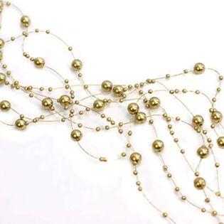 Girlandy perłowe, złote, 1,3 m, 5 szt