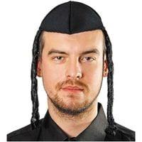czapka ŻYDOWSKA żyda żyd JARMUŁKA z pejsami CZARNA