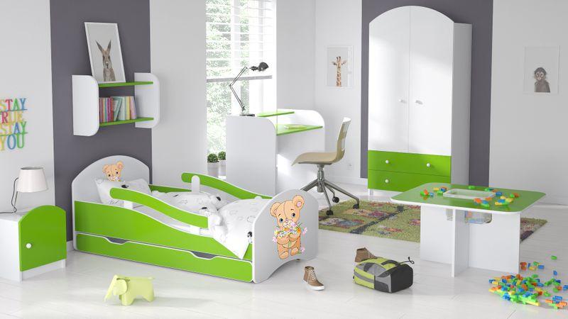 Łóżko dziecięce 140x70 biało-zielone/limonkowe materac gratis zdjęcie 6