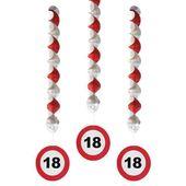 dekoracja wisząca świderki 18 URODZINY znak drogow