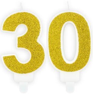 Świeczka Cyferka 30 złota na trzydzieste Urodziny