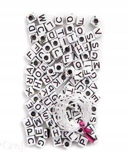 Koraliki LITERKI litery 130szt czarno białe CRAFT