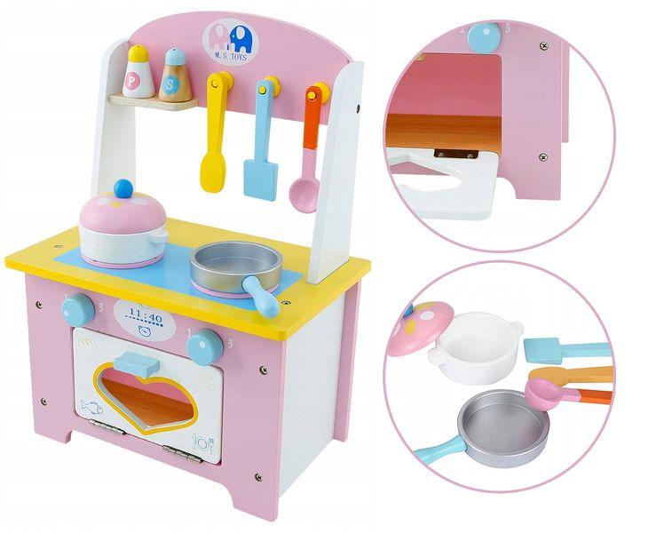 Kuchnia Drewniana Dla Dzieci Garnki Akcesoria Owoce Magnetyczne U46U zdjęcie 8