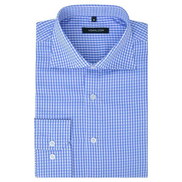 Męska Koszula Biała W Błękitną Kratkę Rozmiar Xxl zdjęcie 1