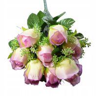 Kwiaty sztuczne Bukiet mały 9 Róż fiolet krem