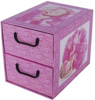 Pudełko Kartonowe 2 Szuflady Pionowe Śpiące Dzieci Róż
