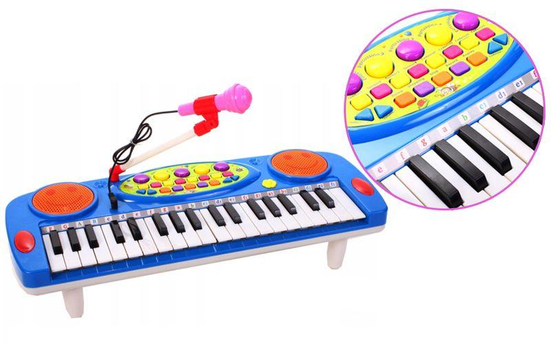 Keyboard Organy Pianino dla dzieci z mikrofonem Niebieskie Y257N na Arena.pl