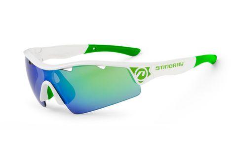 Okulary ACCENT STINGRAY białe-zielone soczewki PC zielone lustrzane  przezroczyste