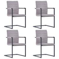 Krzesła stołowe 4 szt. wspornikowe jasnoszare sztuczna skóra VidaXL