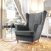 Fotel Skandynawski Uszak mocny materiał+sprężyny zdjęcie 4