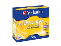 DVD+RW VERBATIM 4.7GB X4 MATT SILVER (5 JEWEL CASE)