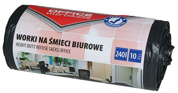 Worki Na Śmieci Biurowe Office Products, Mocne (Ldpe), 240L, 10Szt., Czarne