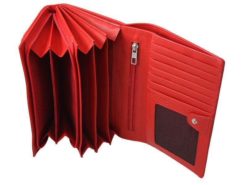 Skórzany, czerwony portfel damski Samsonite RFID zdjęcie 3