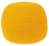 Dziergana Pufa do Salonu Fiord Yellow Żółta 65 cm Handmade